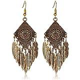 Adisaer Vergoldet Ohrringe Damen Creole Gold Diamant mit Federn Quaste Ohrhänger für Frauen Verlobung Ohrschmuck