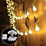 Lichterkette 40 leds Warmweiß Beleuchtung Kugel Partylichterkette Innen- und Außen Deko Glühbirne Wasserdicht Deko Glühbirne für Valentinstag Party Garten Hochzeit Ferien Haus Weinachtsbeleuchtung
