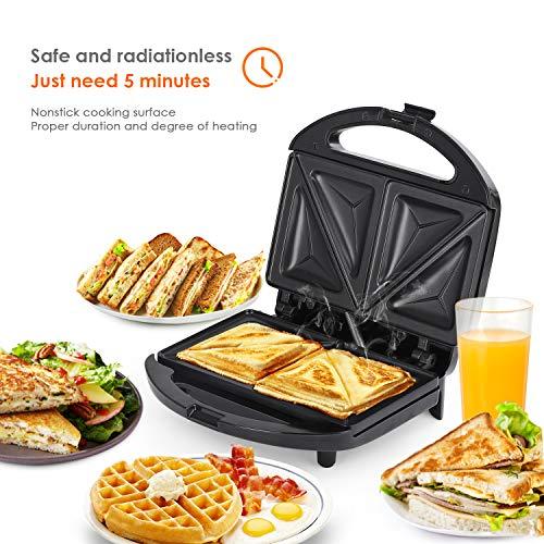 Amzdeal Appareil à Croque Monsieur - avec Plaque Antiadhésif, Machine à Sandwich avec Chauffage à Double Face pour Sandwich, 700W