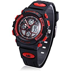 Leopard Shop HOSKA H003S Multifunctional Digital Wristwatch Quartz Children Sport Watch Chronograph Calendar Alarm EL Backlight Water Resistance Red Black