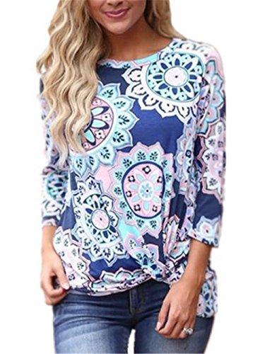 Kerlana T-Shirt Donna Manica Lunga Top Autunno Camicia Rotondo Collo Magliette Babbo Natale Bluse Casual Camicetta Fit Camicie Blue