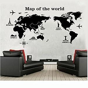 Dosige Negro Mapa del Mundo Viaje Pegatinas de Ventana Pared Extraíble Pegatinas Vinilo Decal Murales para Cocina Sala de Estar Dormitorio Restaurante Baño