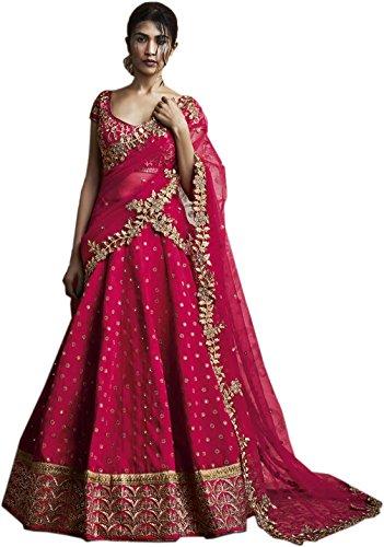 Shreebalaji Enterprise Women's Georgette Pink And Green Color Lehenga Choli (ShreeBalaji Pink...