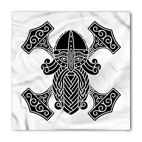 TKMSH Mjolnir Bandana, Ancient Myth Nordic Forms, Unisex Head and Neck Tie,Unisex Bandana Head and Neck Tie Neckerchief Headdress Silk-Like 100% Polyester -S