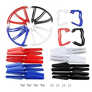 Hometalks®upgraded 4 couleurs Syma X5 x5C x5C-1 Nouvelle Version de rechange 16pcs Main Blade & 16pcs Hélices Hélice Protections Blades Cadre & 8pcs Landing Skid inclus Vis de montage pour Rc Mini Quadcopter Toy