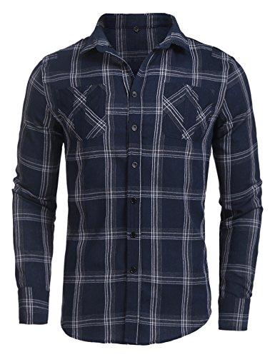 7 Kapuzen-langarm-t-shirt (Burlady Flanellhemd Herren Holzfällerhemd kariert Trachtenhemd Karohemd Hoodie Langarm mit Kapuze Super modisch Oberteile (07-blau, XXL))