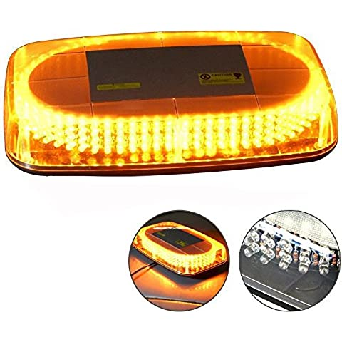 T Tocas (tm) Brillante 240 luci stroboscopiche LED che avverte mini bar con base magnetica, per Car rimorchio rv Caravan Boat Top, DC12V (Ambra)