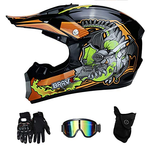 RAON Motocross Motorcycle Motorcycle Helme & Gloves & Goggles D.O.T Zertifizke Kinder Quad Bike ATV Go Karting Helm,Orange,M(54~55cm)