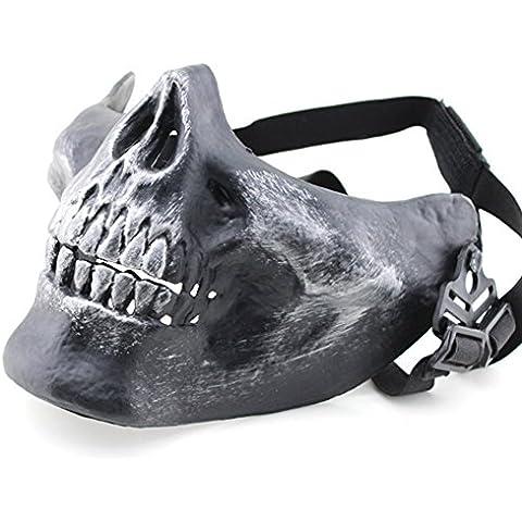 YX caccia da Paintball Wargame-Maschera da teschio, scheletro Protect Gear, Outdoor CS Creative DIY M03-Maschera a metà viso, motivo: teschio, 6 colori