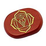 Contever® Gravierte Steine Zur Balance Reiki Chakren Holistic Health Care Products - 1 Stk Rote Jaspis (Wurzel Chakra)