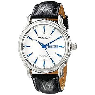Akribos-XXIV-Herren-s-Essential-wei-silberfarbenes-Schwarz-Lederband-Armbanduhr