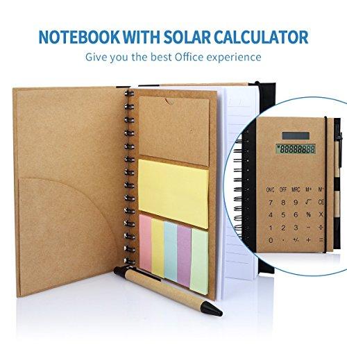 Betterhill business oficina cuadernos de espiral, Agenda A5 con calculadora solar, notas adhesivas, organizador tarjeta solt y bolígrafo (20.6 x 15 x1.5cm)