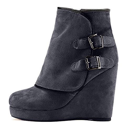 SuperSU Platform Heels Damen Soft Thick High Heel Plateaustiefel Vergrößern In Boots Schuhe Stiefel Mädchen Chelsea Boots Sexy Elegant Stiefel Winter Herbst Retro Blockabsatz Reißverschluss (Stiefeln In Mädchen)