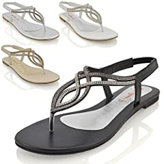 7877deec1c9918 Womens flat diamante toe post slingback sparkly ladies holiday ...