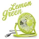 TROTEC TVE 1L Mini USB Ventilator/Fan / Lüfter Lemon Green, geräuscharm mit An/Aus-Schalter, 360° Neigungswinkel, ideal für Schreibtisch Laptop Notebook, oder unterwegs (hellgrün)