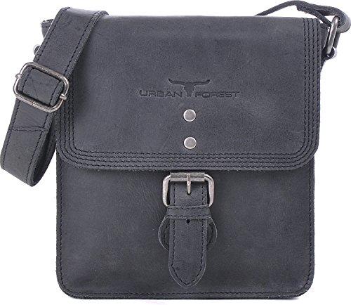 Urban Forest, Cntmp, sacs à main en cuir, sac de messager, sacs de loisirs, sacs à bandoulière, sacs croisés, cuir naturel, 18,5x19,5x7cm (L x H x P) Noir - Noir