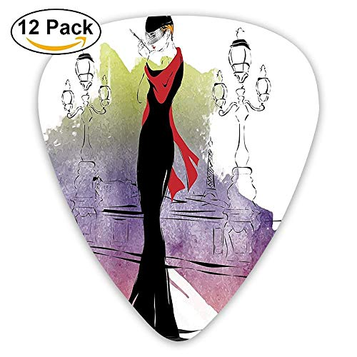 Girl With Red Shawl Street Lights Sixties Trends Retro Style Glamour Guitar Picks 12/Pack Set