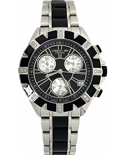 Cerruti 1881 Diamond Chronograph Watch Black Silver Tone Stainless Steel Ceramic Strap Swiss Made