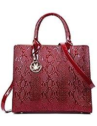 e101add8d6d0 Willsego Damen Tasche europäischen und amerikanischen Mode Schlange Tasche  Schulter Diagonal Handtasche (Farbe   Rot,…