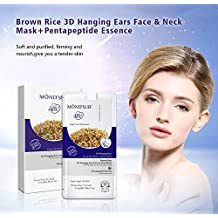 MOND'SUB Brown Rice 3D Hanging Ear, Face & Neck Mask Sheets (Pack of 10 x 40g)
