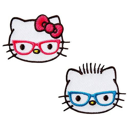 HELLO KITTY - Köpfe Brille - 2 Aufnäher Aufbügler Applikation Patch - ca. 3,2 x 3 cm
