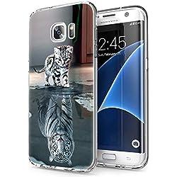 Zhuofan Plus Coque Samsung Galaxy S7 Edge, Silicone Transparente avec Motif Design Antichoc Housse de Protection TPU 360 Bumper Souple Case Cover pour Samsung S7 Edge 5,5 Pouces, Katzentiger