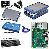 """Maker-Sphere Complet Raspberry Pi 3 Modèle B Quad Core 3.2"""" Ecran LCD TFT avec 16gb Pré-chargés Raspbian - Bleu"""