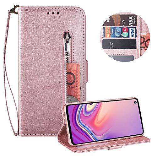 Reißverschluss Brieftasche für Samsung Galaxy S10 5G,Gurt Wallet Handyhülle für Samsung Galaxy S10 5G,Moiky Klassisch Rose Gold Solide Farbe Klappbar Stand Leder Handytasche