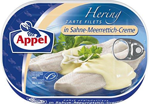 Preisvergleich Produktbild Appel Heringsfilets in Sahne-Meerrettich-Creme,  1er Pack Konserven,  Fisch in Sahne-Meerrettichcreme
