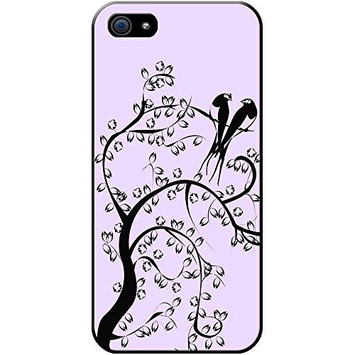 Silhouette Oiseaux De Paradis Étui rigide pour téléphone portable Pastel Purple