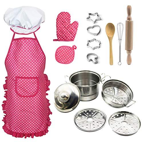 YAKOK Metall Kinderküche Zubehoer Geschirr, Schürze Kinder Kochen, Backen Zubehör Kinder, Kochgeschirr Kinder, Kuchenspielzeug Geschirr Kinderküche für Kinder Kleinkinder (Rosa)
