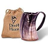 Divit Authentisches Wikingerhorn | Der Archaische Bierkrug | Königliches Flair; Trinken Sie Aus Einem Echten Ochsenhornbecher