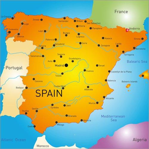 Land Mittel-wandhalterung (Posterlounge Holzbild 60 x 60 cm: Landkarte von Spanien von Editors Choice)