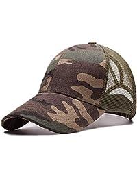 5c7618a4b5eb35 Amknn Ponytail Baseball Cap Hat Ponycaps Messy Mesh Buns Trucker Ponycaps  Plain Baseball Visor Caps Dad