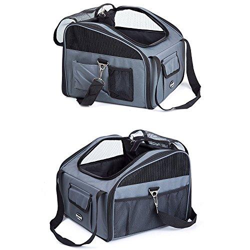 Maxmer Hund Transporttasche Haustiertragetasche Katze Tragetasche Oxford Tuch + Atmungsaktiv Netzfenster in Auto geeignet für klein Tiere wie Nager Hunde Häschen und Katzen (Beige/grün/lila/grau, S/L)
