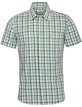 Almsach Kurzarm Trachtenhemd Gunter Slim Fit zweifarbig in Hellgrün und Dunkelgrün inklusive Volksfestfinder