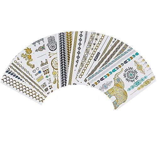 lujiaoshout Metallic Temporary Tattoos Hippy-Tattoo-Aufkleber 16 Blatt Gold Silber Temporary Tattoos Glitzer-Schimmer-Design Schmuck Tattoos für Frauen und Mädchen