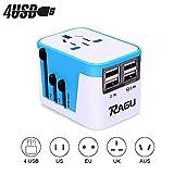 RAGU 4 USB Reiseadapter Universal Ladegerät Ladeanschlüsse & 8Loch-Buchse/reiseadapter für steckdose weltweite Anschlussstecker US/JP UK EU AU/CN mit Schmelzsicherung und Überspannungsschutz