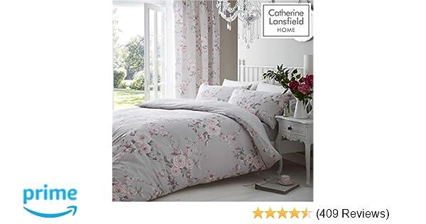 b5a9dda2fb9 Catherine Lansfield Canterbury Easy Care Double Duvet Set Grey   Amazon.co.uk  Kitchen   Home