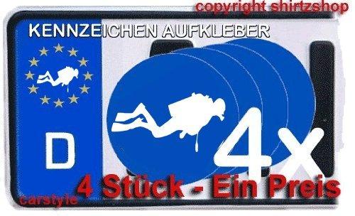 Shirtzshop Taucher tauchen Schnorcheln Dive NUMMERNSCHILD NUMMERNSCHILD Aufkleber Autoaufkleber 4er Set