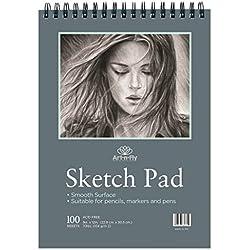 Sketchbook de 100 Hojas Cuaderno Dibujo de Hojas Lisas de 100 gr y 22.9 x 30.5 cm (9 x 12 pulgadas) Bloc para Bocetos y Otros Dibujos con Lápices de Colores Rotuladores Bolis