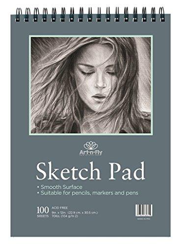 Zeichenblock 100 Blatt Skizzenbuch A4 22,9 x 30,5 cm – Skizzenblock Glattes Papier Spiralbindung...