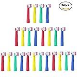 U-Prime® Ersatz Aufsteckbürsten,Kompatibel Mit Braun Oral-B Precision Clean/Flexisoft EB17-4(EB-17A) Aufsteckbürsten(für Elektrische Zahnbürsten),Mehrfarbig,24 Stück( 6er-Pack).