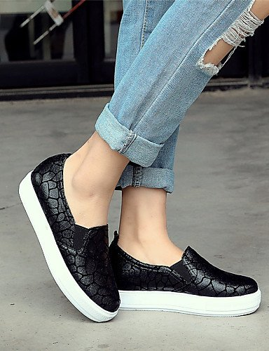 ZQ gyht Scarpe Donna - Mocassini - Tempo libero / Formale / Casual - Plateau / Creepers / Punta arrotondata - Plateau - Finta pelle -Nero / , golden-us7.5 / eu38 / uk5.5 / cn38 , golden-us7.5 / eu38 / golden-us2.5 / eu32 / uk1 / cn31