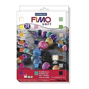 STAEDTLER FIMO soft ofenhärtende Modelliermasse, Kartonetui mit 24 sortierten Basic-Farben, 24 Halbblöcke à 25 g