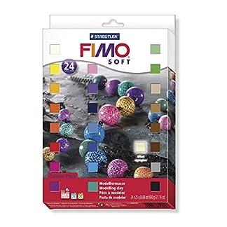 Fimo – 24 bloques de masa para moldear de 25 g en colores variados y que endurece en el horno (Staedtler 8023 02)