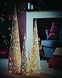 Pyramide LED warmweiß Metall Glitzer Deko Weihnachten Deko Leuchte L ( 100 cm hoch, 35 warmweiße LED) - sehr hochwertig aus Metall mit Glitter - mit integrierten warmweißen LED und Timer für ein- und ausschalten von allein - tolle beleuchtete Weihnachtsdeko, Deko für Weihnachten in Designer-Qualität