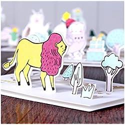 Grußkarte 1 Stück Tier Gruß Karte 3D Karte DIY handgemachte Karte für die meisten Anlässe (Lion) Jahrestagskarte