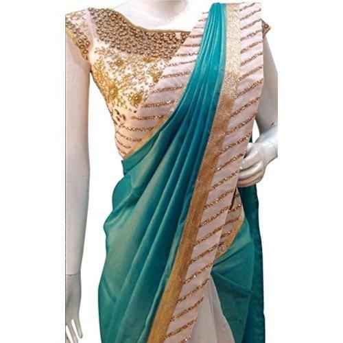 NENA Fashion Women's Embroidered Green And White Half And Half Georgette Saree...