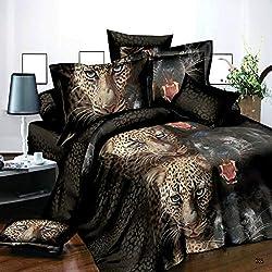 SSP Juego de Funda de Edredón con Estampado de Leopardo y Pantera de 4 Piezas con Efecto 3D, 3D/Animal Theme/285, Matrimonio